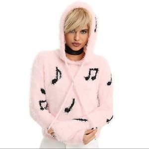 Hot topic music note fuzzy sweater